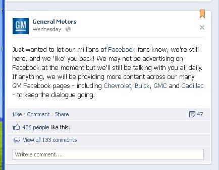 General Motors Facebook Analyticpedia To be or not to be on Facebook : GM Story